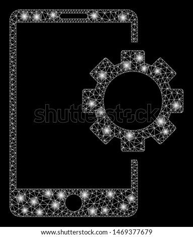 Glowing mesh phone setup gear with glare effect. Abstract illuminated model of phone setup gear icon. Shiny wire frame polygonal mesh phone setup gear. Vector abstraction on a black background.