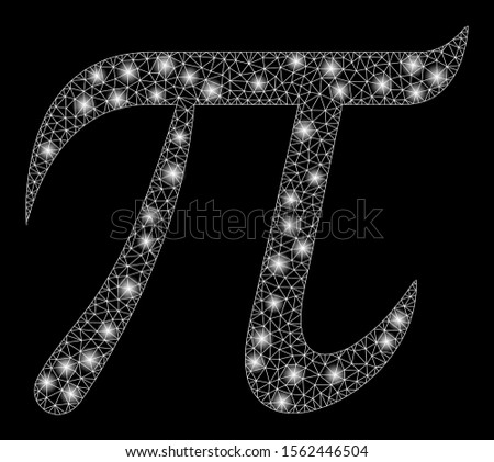 Glowing mesh pi symbol with sparkle effect. Abstract illuminated model of pi symbol icon. Shiny wire carcass triangular mesh pi symbol. Vector abstraction on a black background.