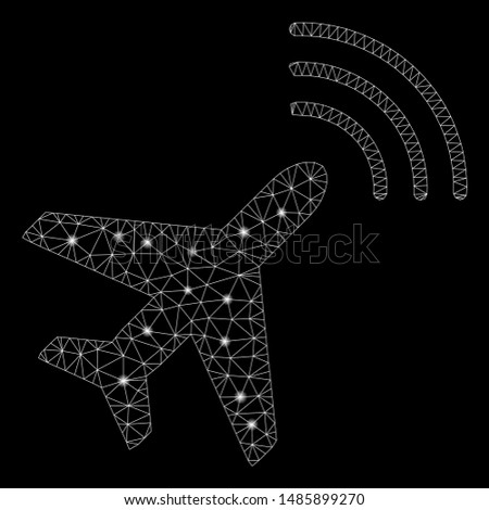 Glowing mesh radio monitoring airplane with glare effect. Abstract illuminated model of radio monitoring airplane icon. Shiny wire carcass triangular mesh radio monitoring airplane.