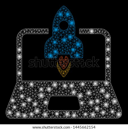 Glowing mesh rocket startup notebook with glare effect. Abstract illuminated model of rocket startup notebook icon. Shiny wire carcass polygonal mesh rocket startup notebook.