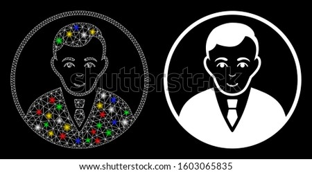 Glowing mesh rounded gentleman icon with sparkle effect. Abstract illuminated model of rounded gentleman. Shiny wire frame polygonal mesh rounded gentleman icon.