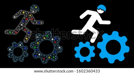 Glowing mesh running developer over gears icon with glitter effect. Abstract illuminated model of running developer over gears. Shiny wire carcass polygonal mesh running developer over gears icon.