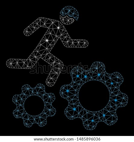 Glowing mesh running developer over gears with glow effect. Abstract illuminated model of running developer over gears icon. Shiny wire carcass polygonal network running developer over gears.