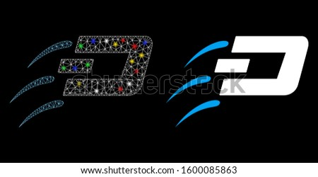 Glowing mesh send Dash icon with glow effect. Abstract illuminated model of send Dash. Shiny wire frame polygonal mesh send Dash icon. Vector abstraction on a black background.