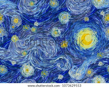 Glowing moon and starry sky abstract background. Seamless vector pattern in the style of impressionist paintings.