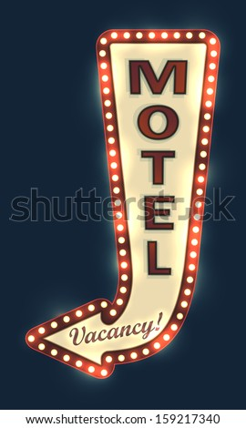 Glowing motel sign with light bulbs. EPS10 vector image.