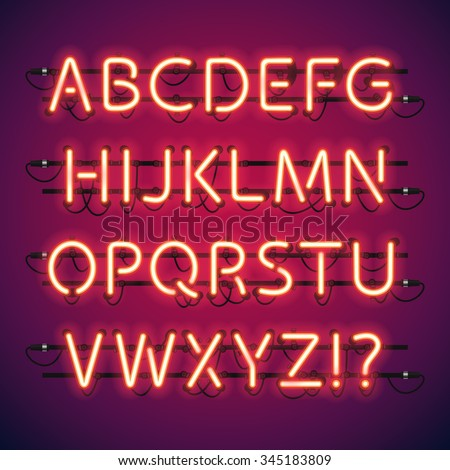 Shutterstock Glowing Neon Bar Alphabet. Used pattern brushes included. There are fastening elements in a symbol palette.