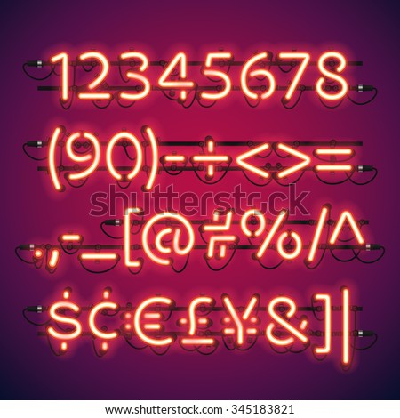 glowing neon bar numbers used