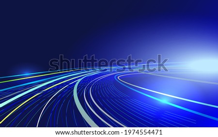 glowing neon blue yellow lines, bright lights, blue vector background, illuminated high speed traffic motion road at night, high speed effect vector, Linkedin banner, facebook cover, instagram post ad