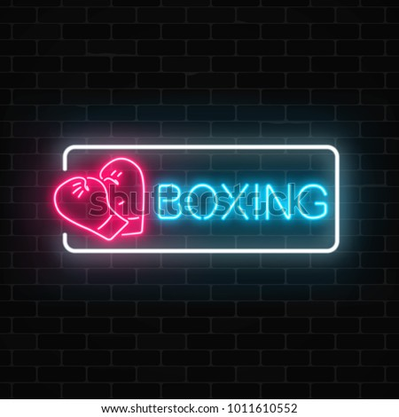 glowing neon boxing club sign