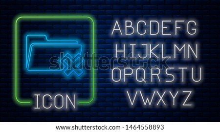 Glowing neon Delete folder icon isolated on brick wall background. Folder with recycle bin. Delete or error folder. Close computer information folder. Neon light alphabet. Vector Illustration