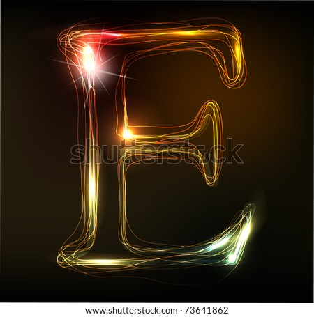 Glowing neon font. Shiny letter E
