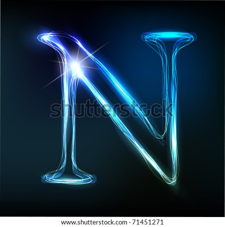 Glowing neon font. Shiny letter N
