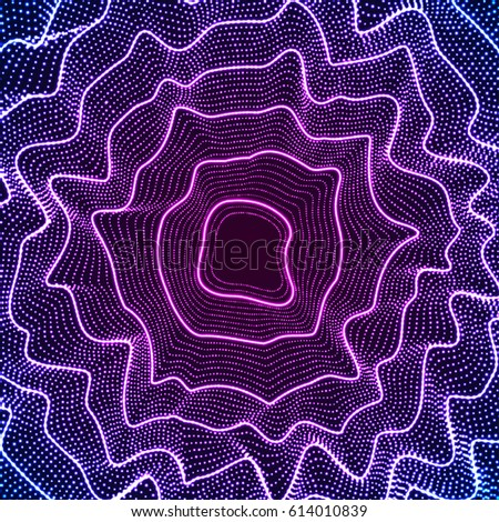 Glowing neon light curves and dots pattern background. Black and white noise wavy abstract texture. Vector illustration