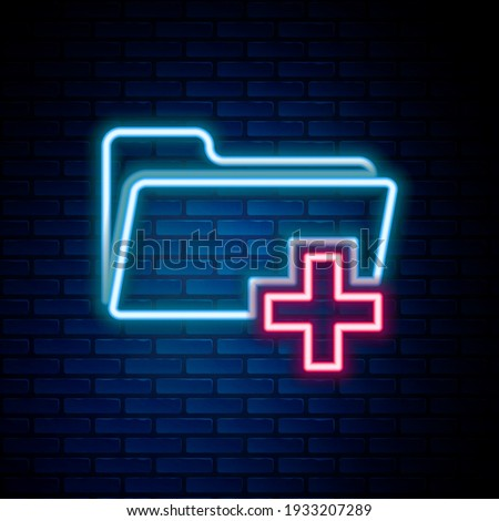 Glowing neon line Add new folder icon isolated on brick wall background. New folder file sign. Copy document. Add attach create folder make new plus. Colorful outline concept. Vector