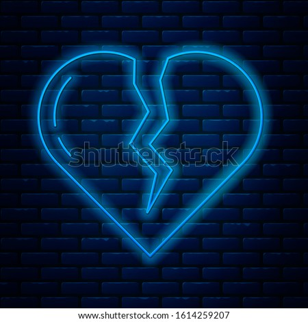 glowing neon line broken heart