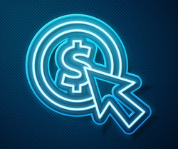 Glowing neon line Cursor and coin icon isolated on blue background. Dollar or USD symbol. Cash Banking currency sign.  Vector Illustration