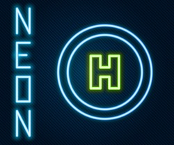 Glowing neon line Helicopter landing pad icon isolated on black background. Helipad, area, platform, H letter. Colorful outline concept. Vector Illustration