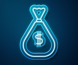 Glowing neon line Money bag icon isolated on blue background. Dollar or USD symbol. Cash Banking currency sign.  Vector Illustration