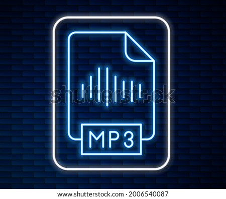 Glowing neon line MP3 file document. Download mp3 button icon isolated on brick wall background. Mp3 music format sign. MP3 file symbol.  Vector Stock photo ©