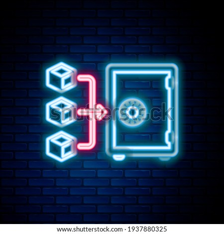 Glowing neon line Proof of stake icon isolated on brick wall background. Cryptocurrency economy and finance collection. Colorful outline concept. Vector Сток-фото ©