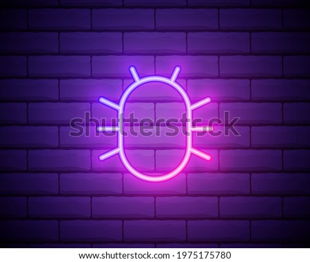 Glowing neon line System bug concept icon isolated on brick wall background. Code bug concept. Bug in the system. Bug searching. Colorful outline concept. Vector Illustration.