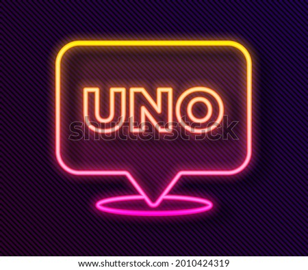 Glowing neon line Uno card game icon isolated on black background.  Vector Foto stock ©