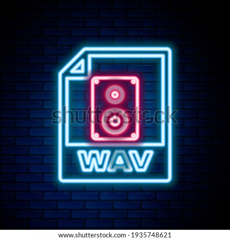 Glowing neon line WAV file document. Download wav button icon isolated on brick wall background. WAV waveform audio file format for digital audio riff files. Colorful outline concept. Vector Stock foto ©