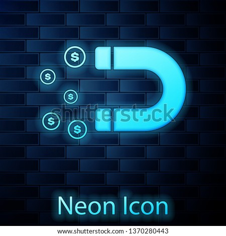 Glowing neon Magnet with money icon isolated on brick wall background. Concept of attracting investments, money. Big business profit attraction and success. Vector Illustration