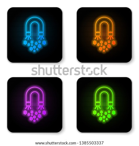 Glowing neon Magnet with money icon isolated on white background. Concept of attracting investments, money. Big business profit attraction and success. Black square button. Vector Illustration