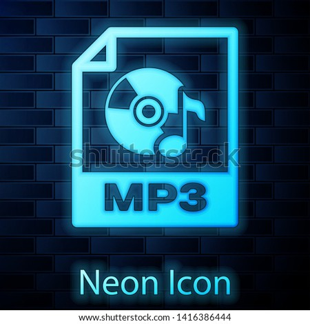 Glowing neon MP3 file document icon. Download mp3 button icon isolated on brick wall background. Mp3 music format sign. MP3 file symbol. Vector Illustration