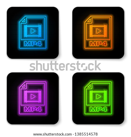Glowing neon MP4 file document icon. Download mp4 button icon isolated on white background. MP4 file symbol. Black square button. Vector Illustration
