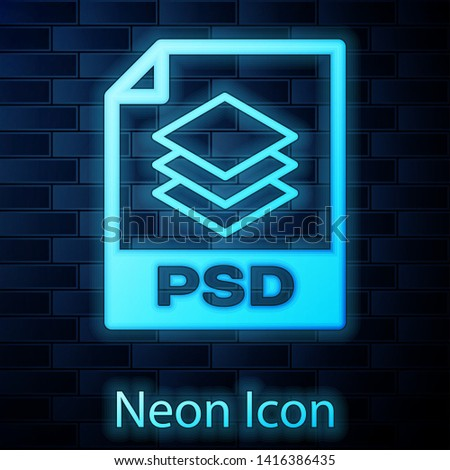 Glowing neon PSD file document icon. Download psd button icon isolated on brick wall background. PSD file symbol. Vector Illustration