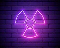 Glowing neon Radioactive icon isolated on brick wall background. Radioactive toxic symbol. Radiation Hazard sign. Vector Illustration.