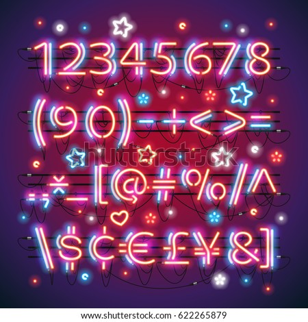Glowing neon red blue numbers and financial symbols makes it quick and easy to customize your USA Independence Day day project. Used neon brushes included.