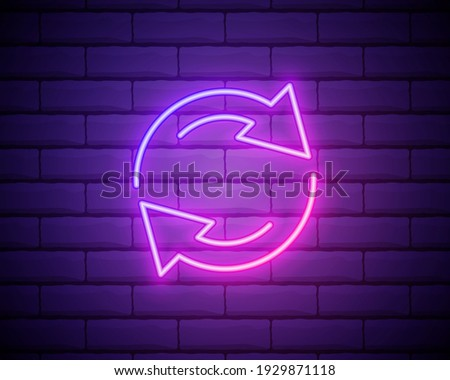 Glowing neon Refresh icon isolated on brick wall background. Reload symbol. Rotation arrows in a circle sign. Vector Illustration. Stock photo ©