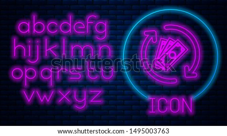 Glowing neon Refund money icon isolated on brick wall background. Financial services, cash back concept, money refund, return on investment, savings account. Neon light alphabet. Vector Illustration