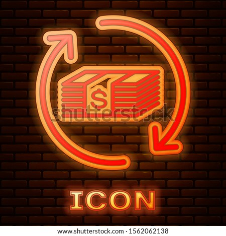 Glowing neon Refund money icon isolated on brick wall background. Financial services, cash back concept, money refund, return on investment, savings account.  Vector Illustration