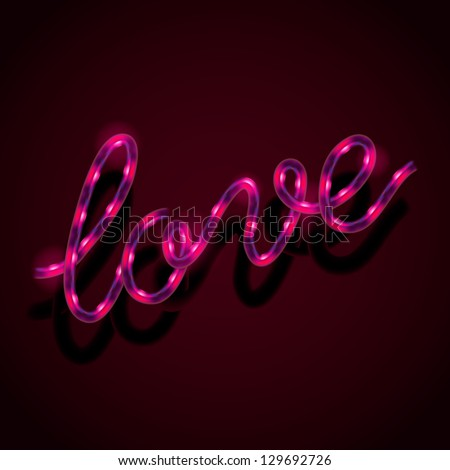 glowing neon sign   love