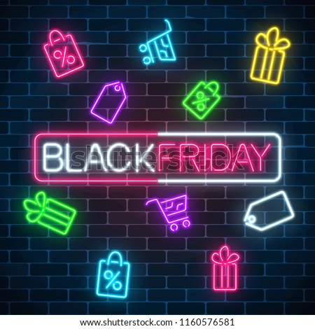 Glowing neon sign of black friday sale in rectangle frame with shopping symbols on dark brick wall background. Seasonal sale web banner. Vector illustration. Black friday light signboard.