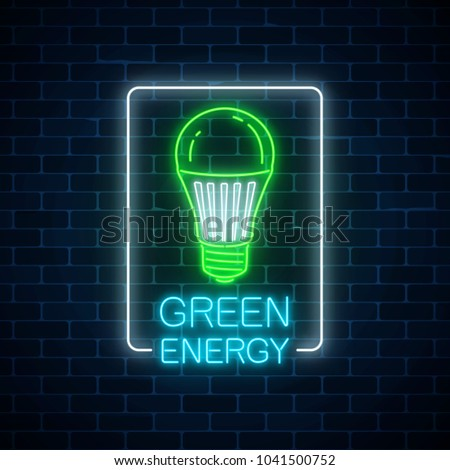 Glowing neon sign of green led light bulb with energy conversation text in rectangle frame on dark brick wall background. Eco energy concept symbol. Vector illustration.
