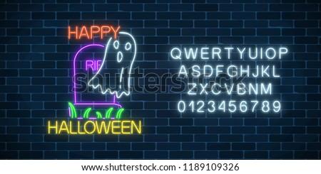 glowing neon sign of halloween