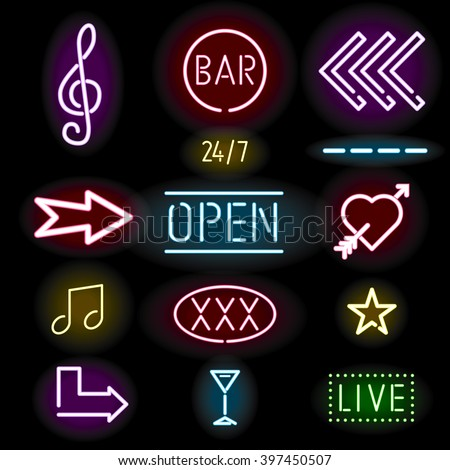 Glowing neon signs, icon set, vector illustration