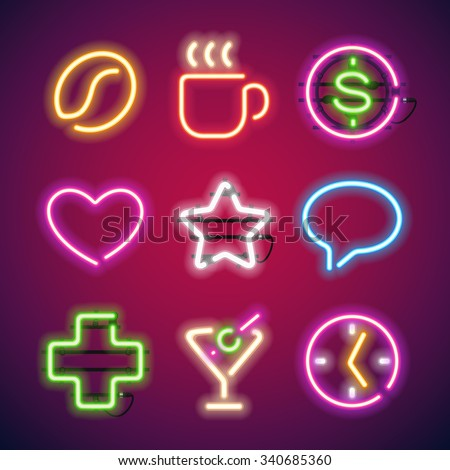 glowing neon signs set used