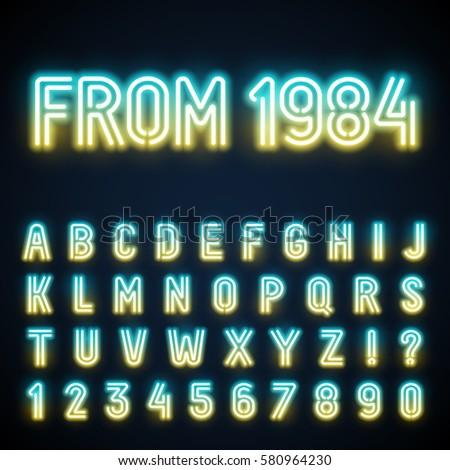 glowing neon tube font retro