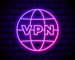 Glowing neon VPN Network connection icon isolated on dark brick wall background. Social technology. Cloud computing concept. Vector Illustration.