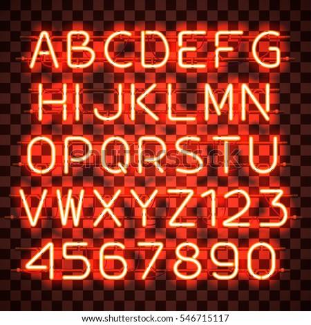 glowing orange neon alphabet