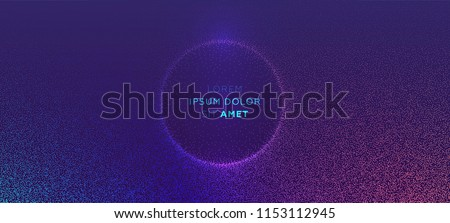 Glowing particles liquid dynamic flow with glowing bubble frame. Trendy fluid cover design. Eps10 vector illustration