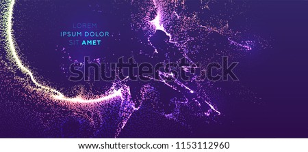 Glowing particles liquid dynamic flow with glowing explosion. Trendy fluid cover design. Eps10 vector illustration