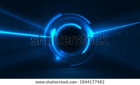 Glowing portal. Vector graphics of interdimensional movement